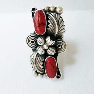 Sterling Silver Jasper Mexican Designer Ring